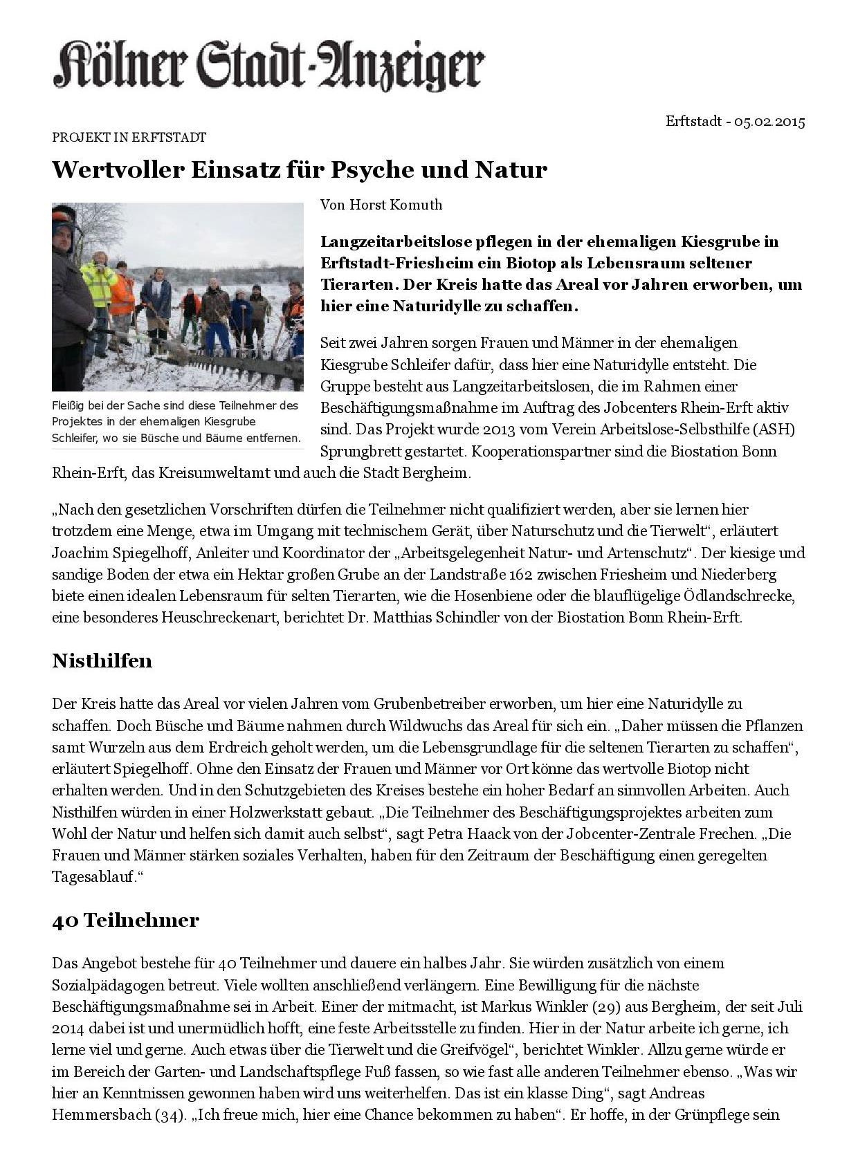Kölner Stadt-Anzeiger- Wertvoller Einsatz für Psyche und Natur-001