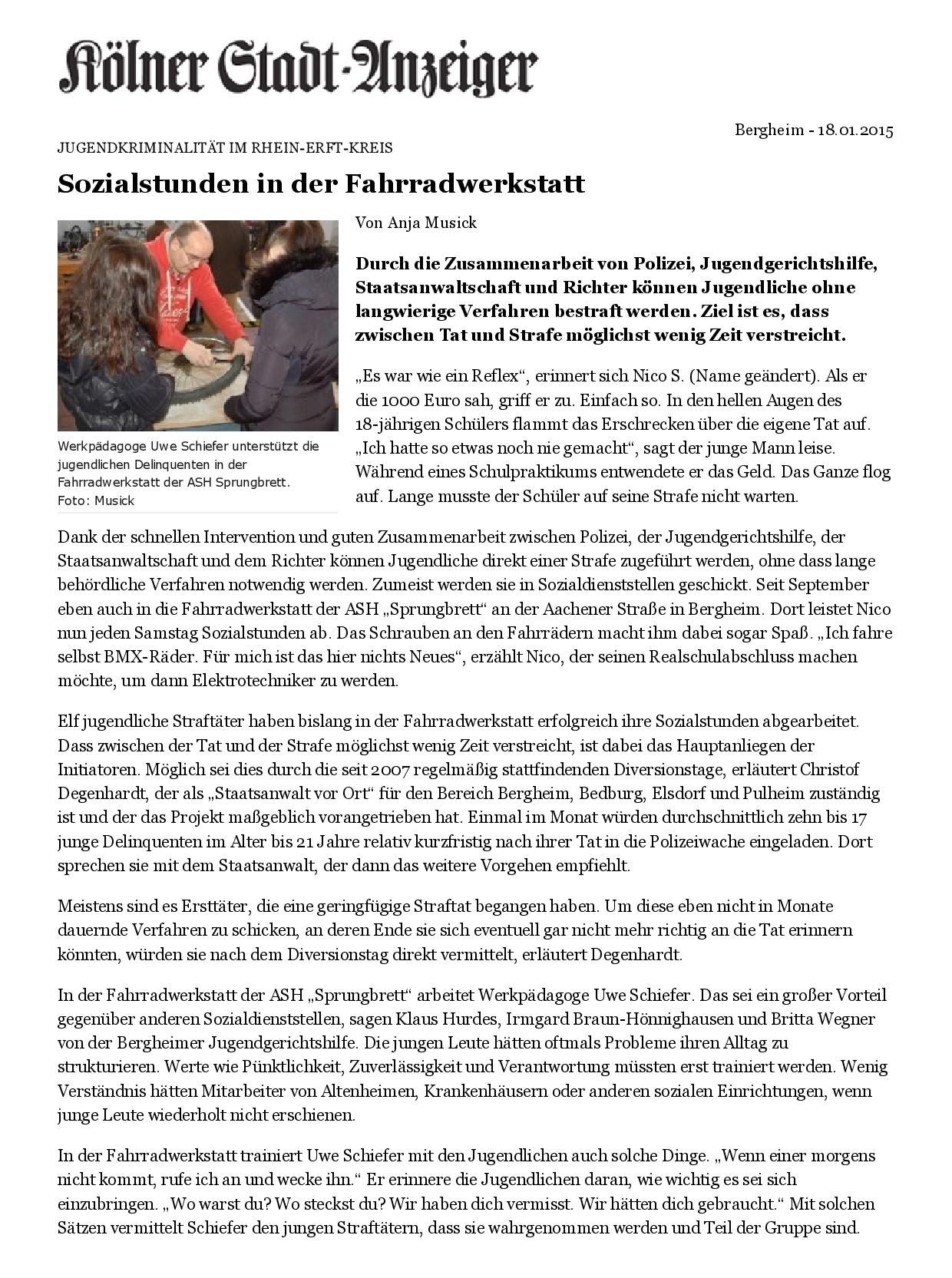Kölner Stadt-Anzeiger- Sozialstunden in der Fahrradwerkstatt-001