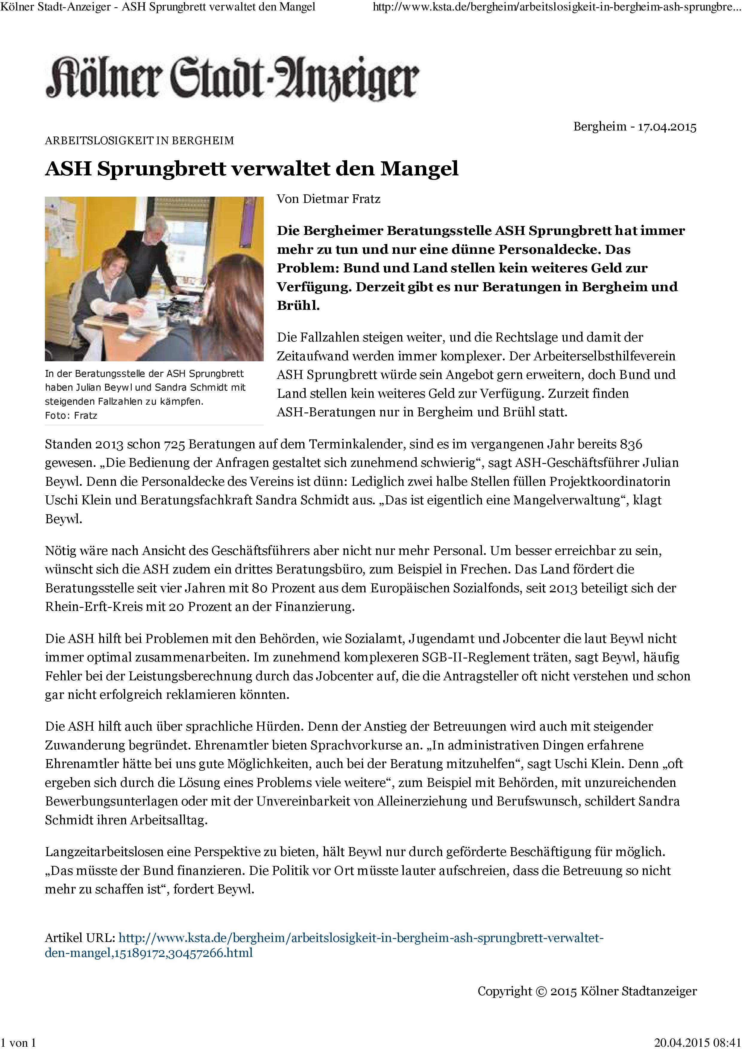 Kölner Stadt-Anzeiger- ASH Sprungbrett verwaltet den Mangel-001